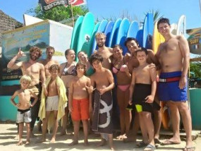 After the surf lesson with our surf instructors Noah, Pablo and Emiel